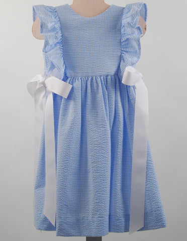 Funtasia Too!  Blue Seersucker Pinafore Dress