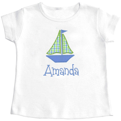 Blue/Lime Checks Sailboat Appliqué Girls Tee