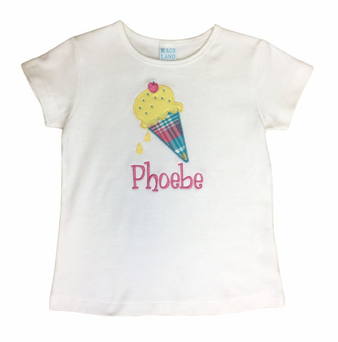 Applique Ice Cream Girls Tee