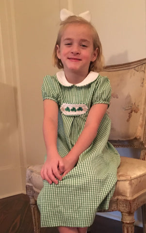 St Patrick's Day Chambray Checks Tab Dress