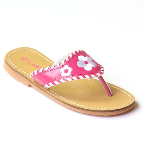 L'Amour Flower Stitched Thong Sandal