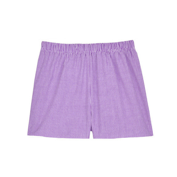 Purple Classic Checks Shorts
