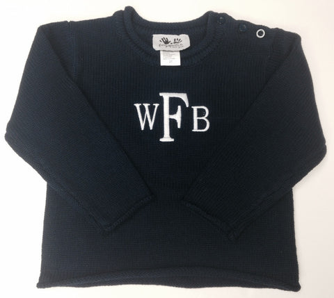 Roll Neck Navy Sweater