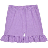Purple Classic Checks Ruffle Shorts