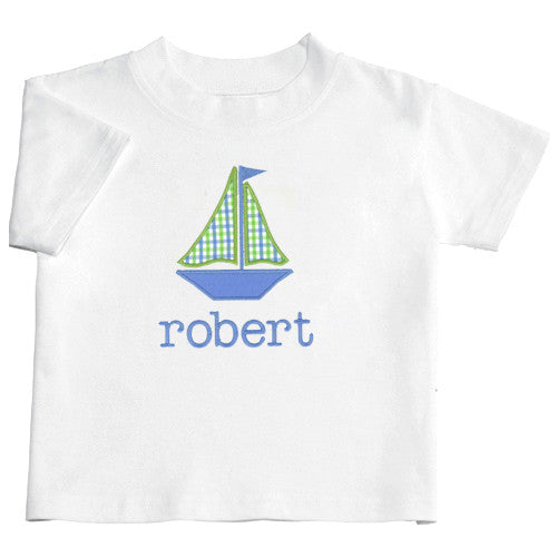 Blue/Lime Checks Sailboat Appliquéd Boys Tee