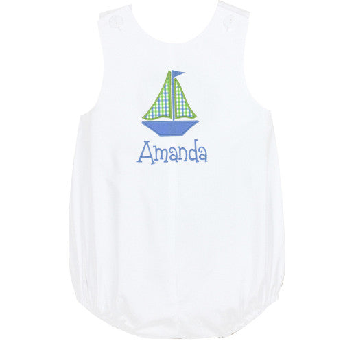 Blue/Lime Sailboat Girls Sunbubble in White Pique