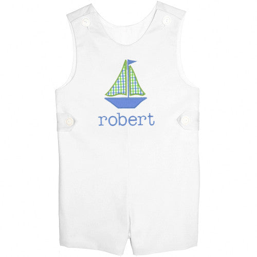 Blue/Lime Checks Sailboat Boys Shortall in White Pique
