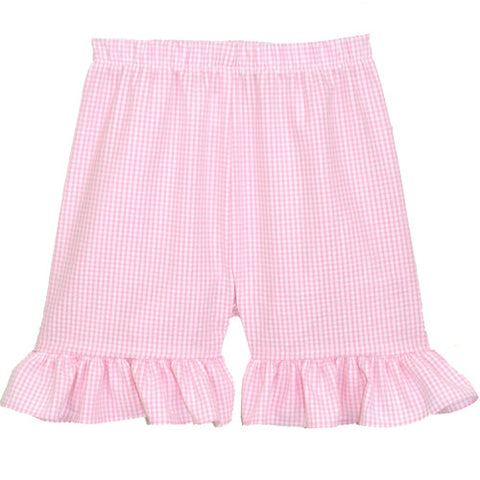 Pink Seersucker Checks Ruffle Shorts
