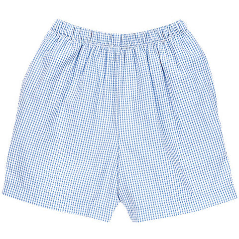 Blue Seersucker Check Shorts