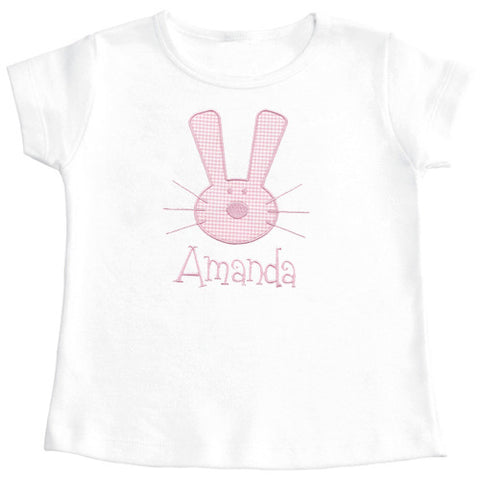 Bunny Seersucker Checks Applique Girls Tee