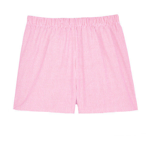Pink Seersucker Check Shorts