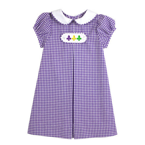Mardi Gras Chambray Checks Tab Dress