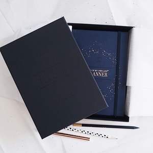 Load image into Gallery viewer, Ella Iconic 2021 CEO of My Own Life Daily Planner | Midnight Blue in a Gift Box
