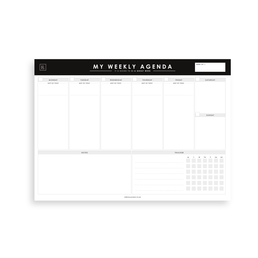 Ella Iconic A4 Undated Weekly Planner Desk Pad