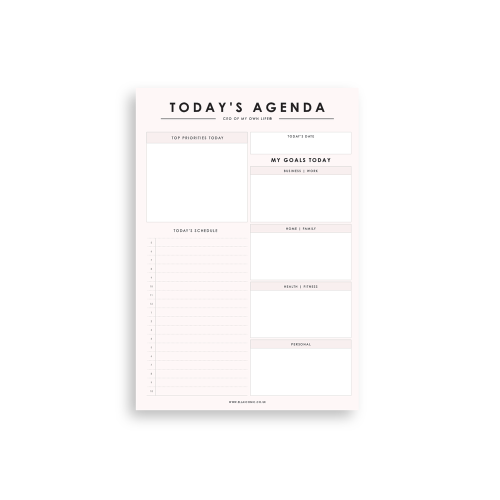 Today's Agenda | Daily Blush Planner Notepad