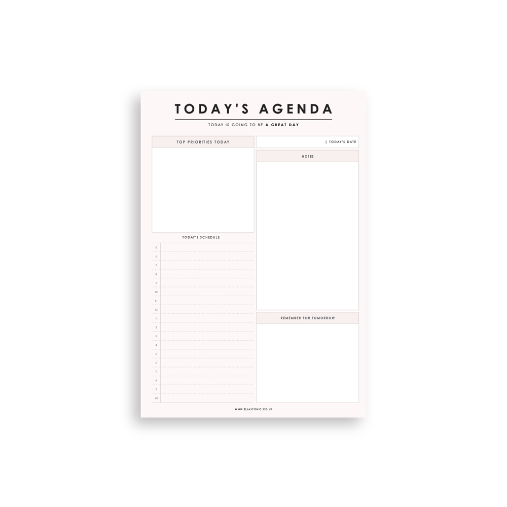 Today's Agenda | 'Great Day' Daily Planner Notepad Blush