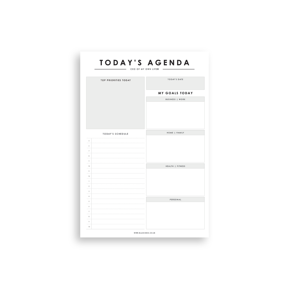 Today's Agenda | Daily Planner Notepad