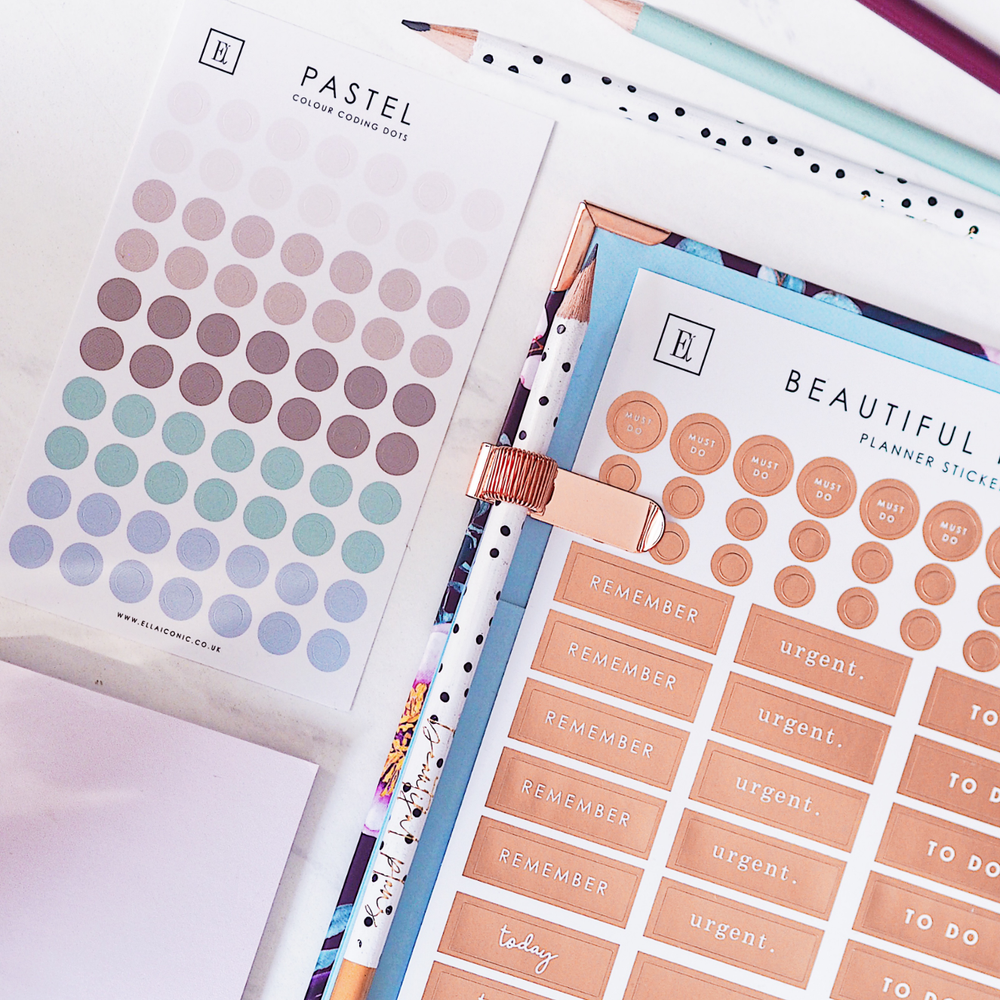 Pastel Colour Coding Dot Stickers in 2021 Daily Life Planner | Ella Iconic