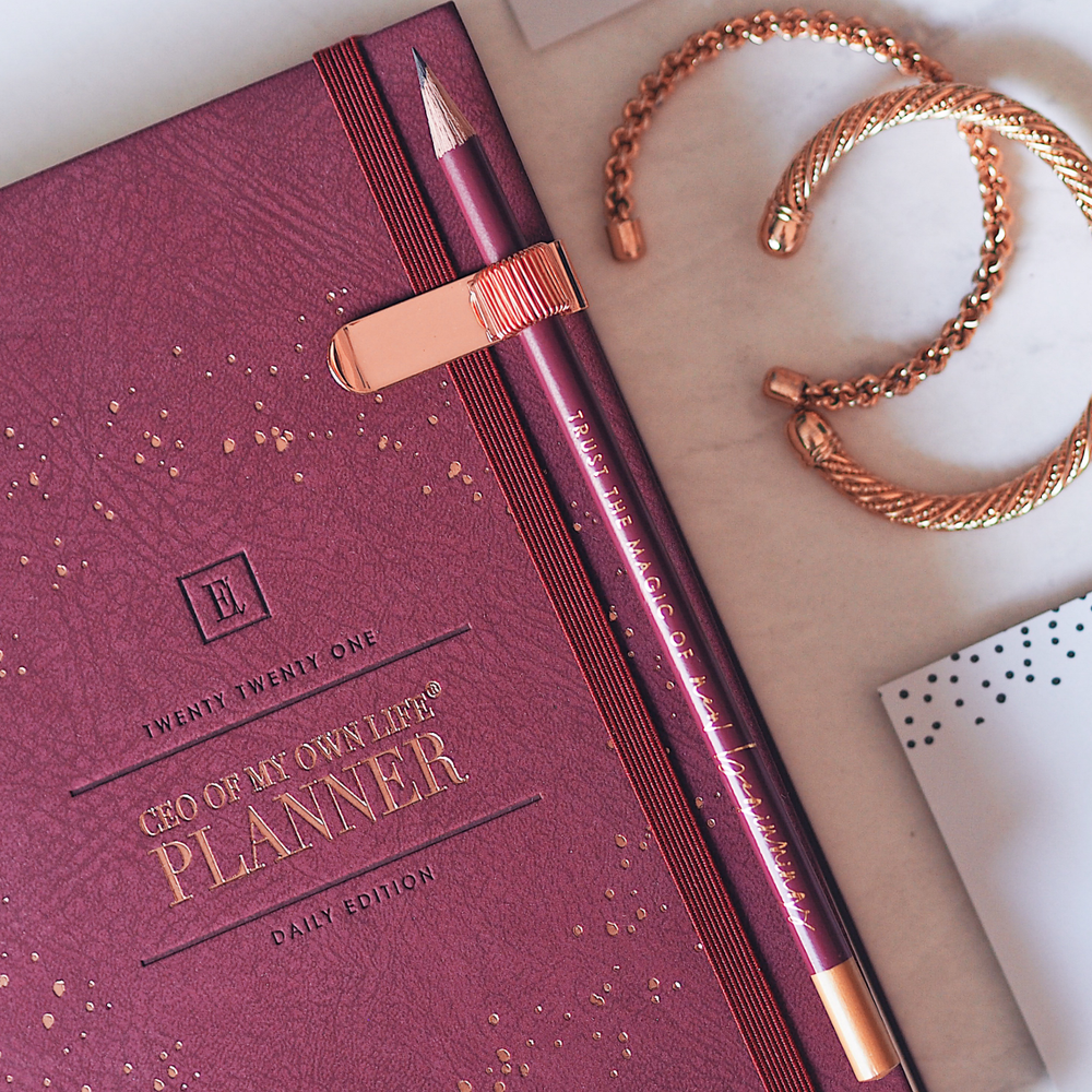 Ella Iconic CEO of My Own Life® 2021 Daily Planner | Burgundy Close Up