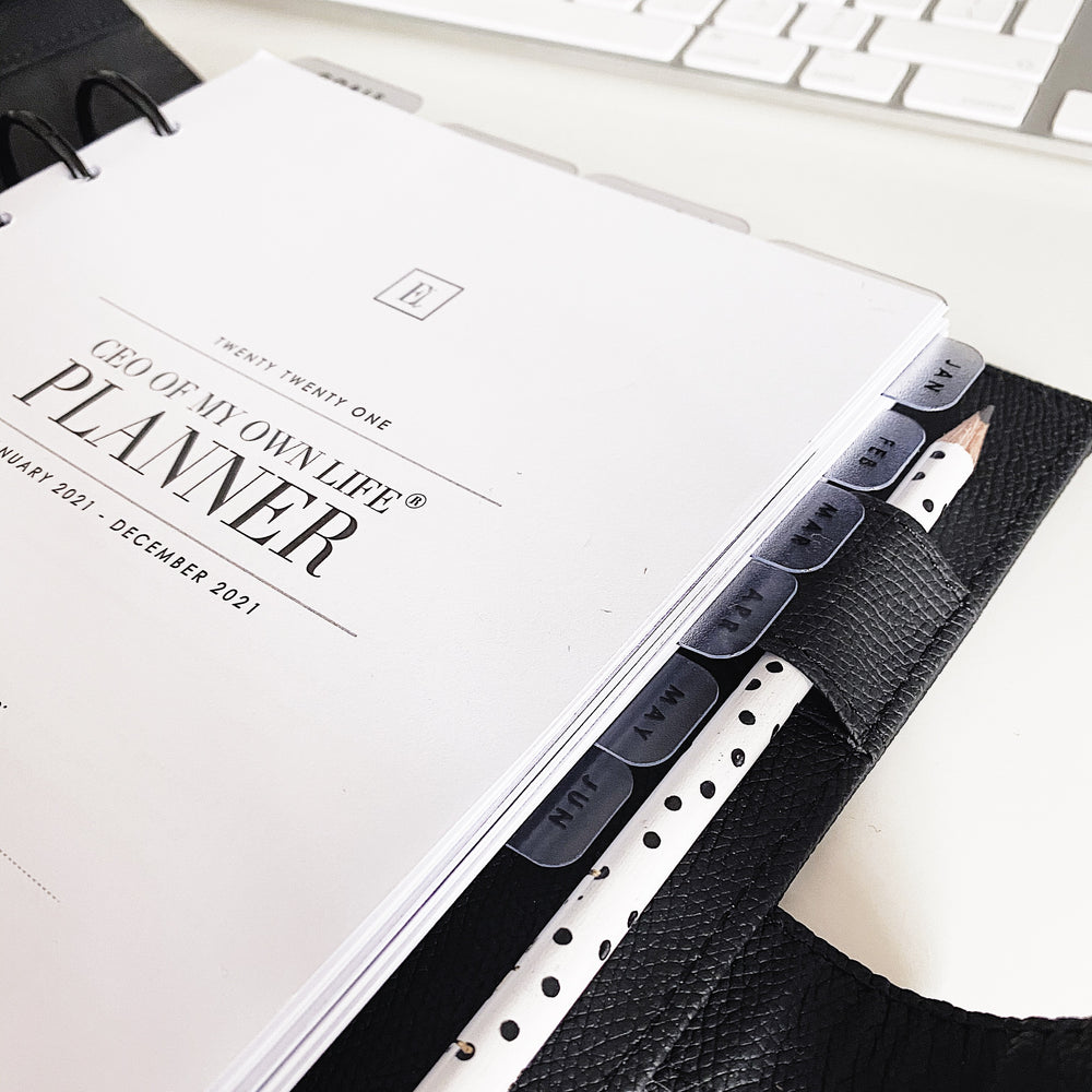 Ella Iconic A5 Faux Vegan Leather Personal Planner Organiser on a Desk in a Office