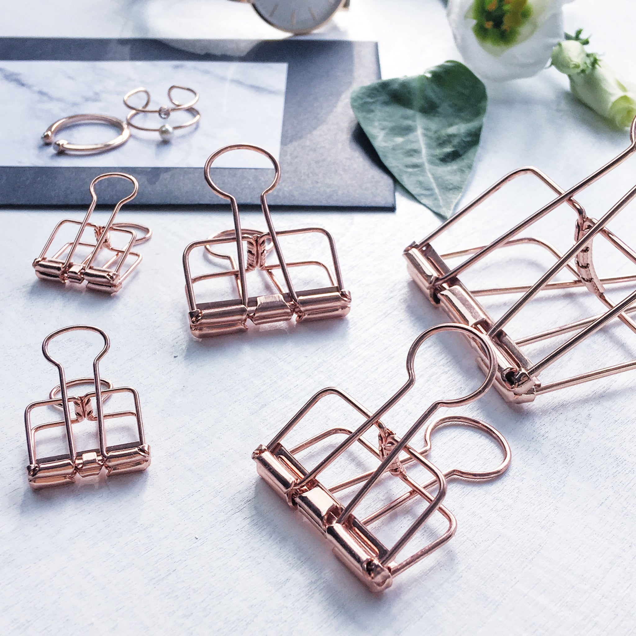 ELLA ICONIC | Skeleton Binder Clips | Rose Gold Binder Clips
