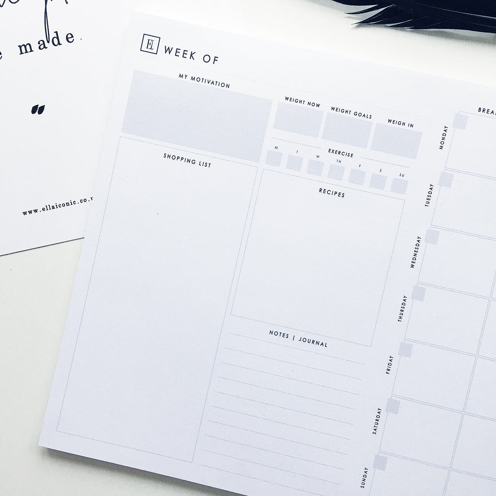 Food & Fitness Undated Weekly Planner | Notepad