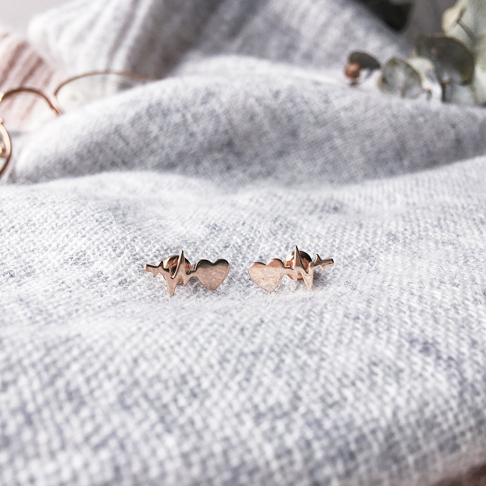 Rose Gold Beating Heart Earrings
