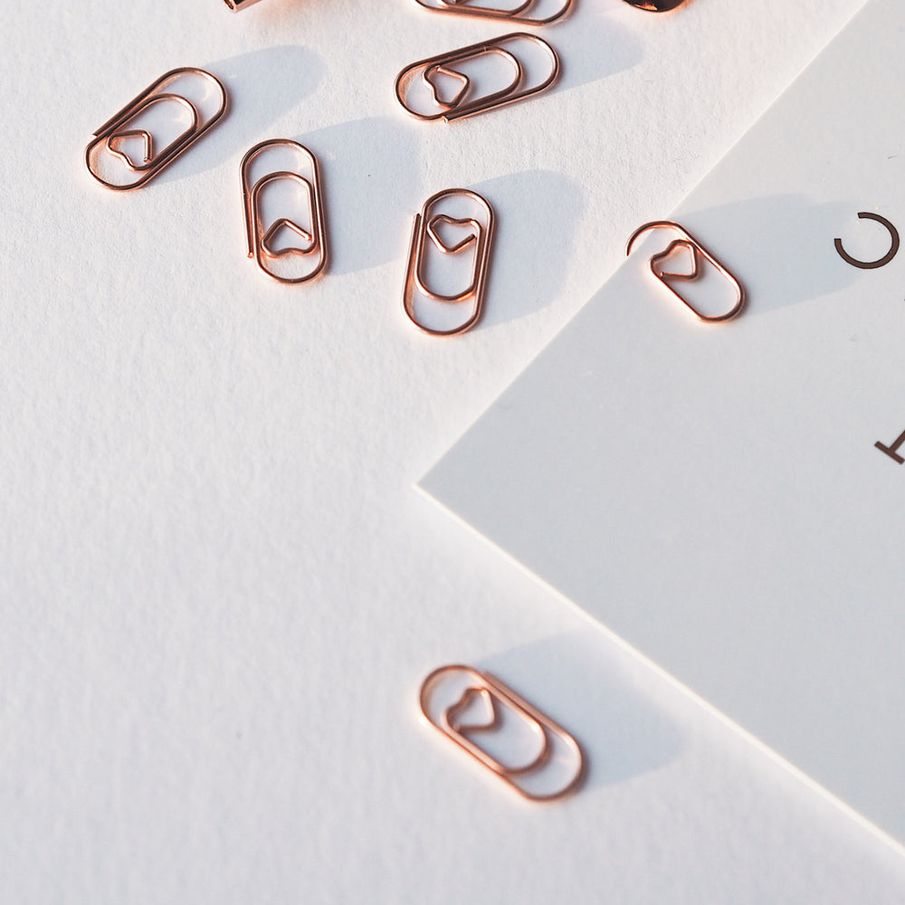 Heart Rose Gold Paper Clips