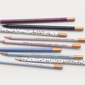 Ella Iconic Motivational Gold Foiled Pencils. Made in UK.