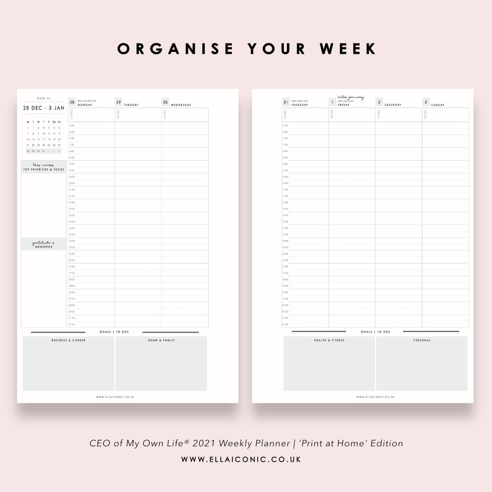 2021 Weekly Planner | CEO of My Own Life® | PDF Printable Inserts