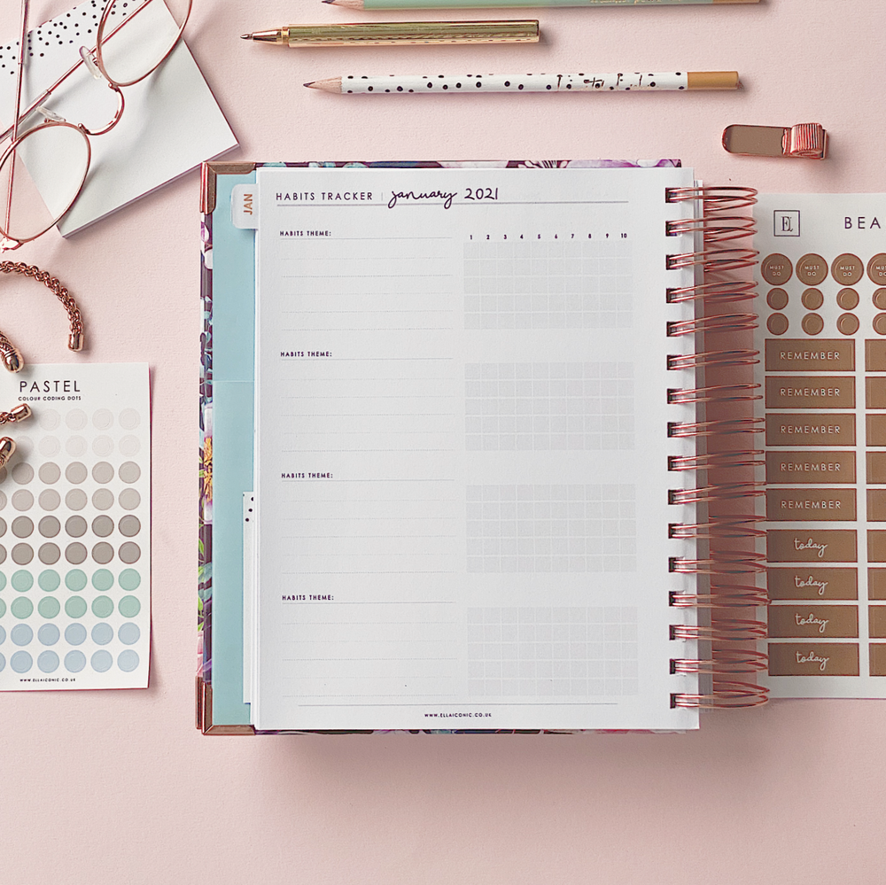 Ella Iconic CEO of My Own Life Spiral 2021 Daily Planner | Habits Tracker Page