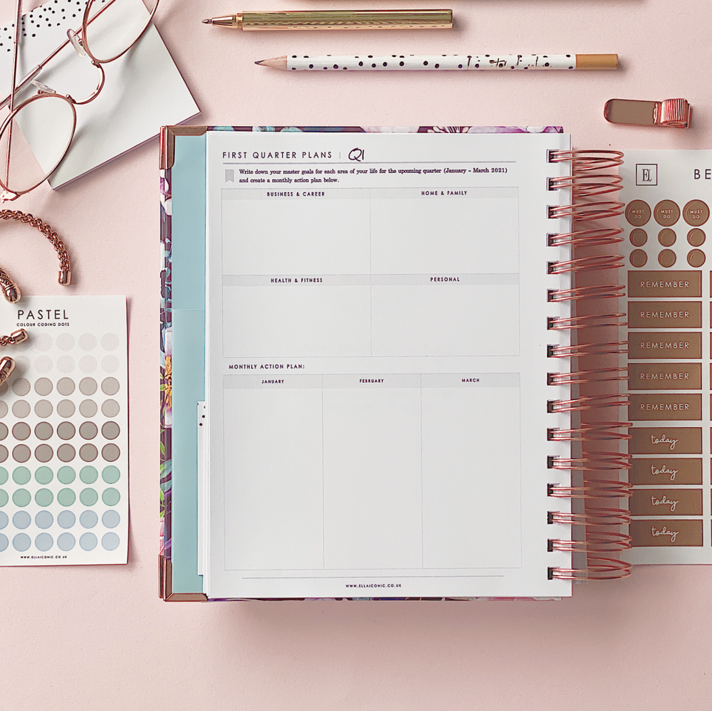Ella Iconic CEO of My Own Life Spiral 2021 Daily Planner | Quarterly Goals Setting Page