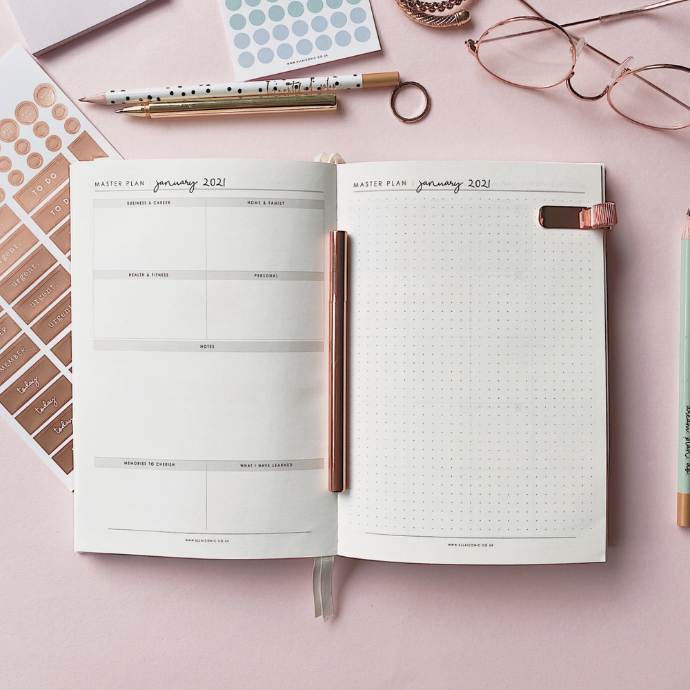 Ella Iconic CEO of My Own Life® 2021 Daily Planner | Monthly Dot Grid Goals Page