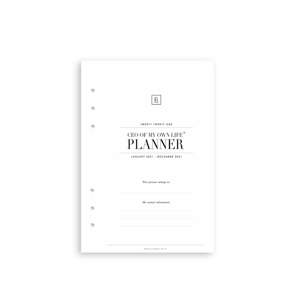 2021 Weekly Planner Inserts Refills | CEO of My Own Life®