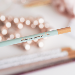 Motivational Luxury Gold Foiled Pistachio Pencil Set | Dream. Plan. Do | Made in UK | Ella Iconic
