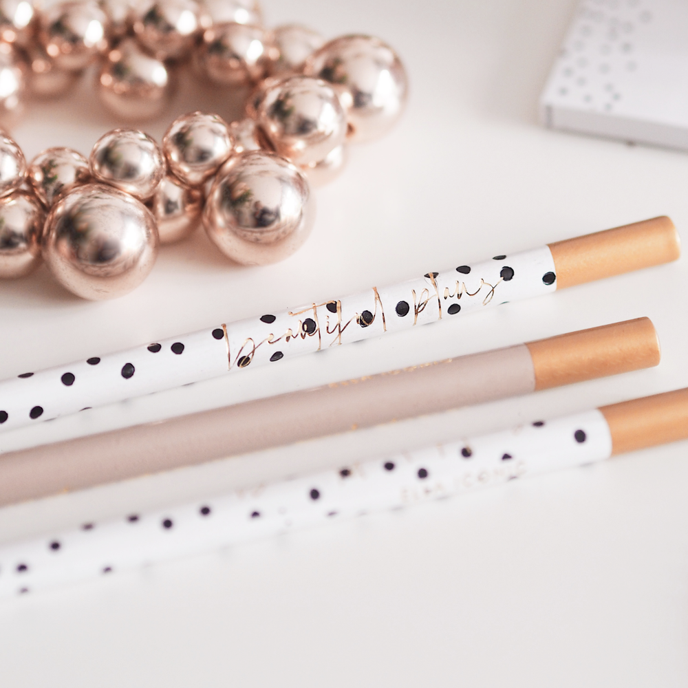 Motivational Luxury Black and White Gold Foiled Polka Dot Pencil Set | Gold foiled with Beautiful Plans | Made in UK | Ella Iconic