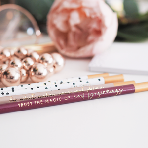Motivational Luxury Burgundy Gold Foiled Pencil Set | Trust The Magic of New Beginnings | Made in UK | Ella Iconic