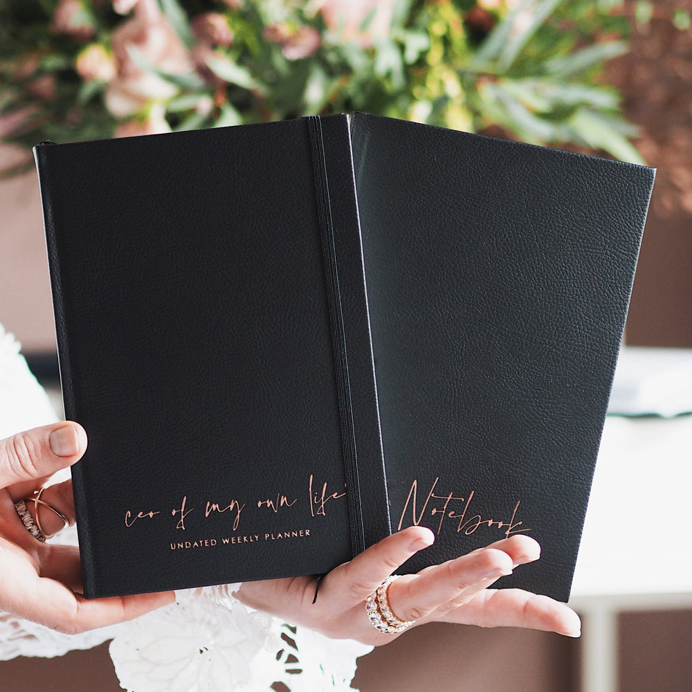 Luxury vegan leather undated weekly CEO of My Own Life® planner in Black. Ella Iconic Stationery.