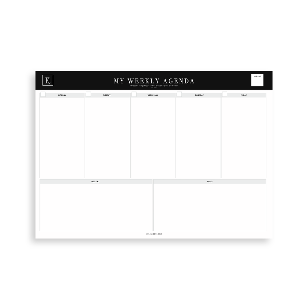 My Weekly Agenda | A4 Notepad