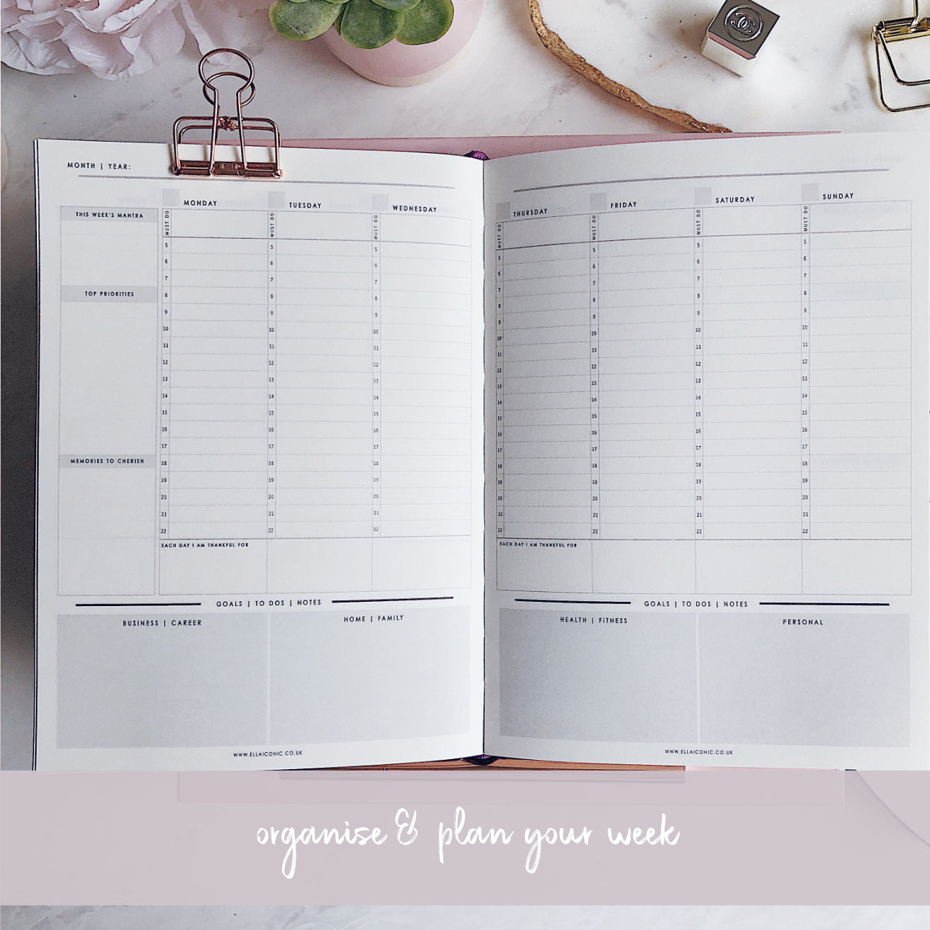 CEO OF MY OWN LIFE® Planner | Undated Weekly | Rose