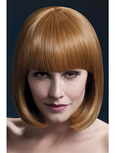 Auburn sleek short bob wig with fringe designed for trans men