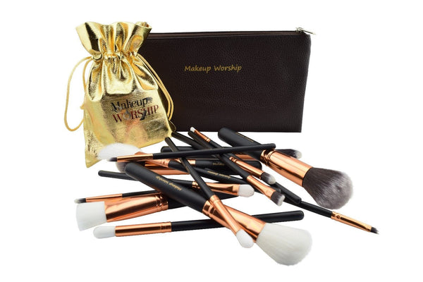 Fifteen piece makeup brush set