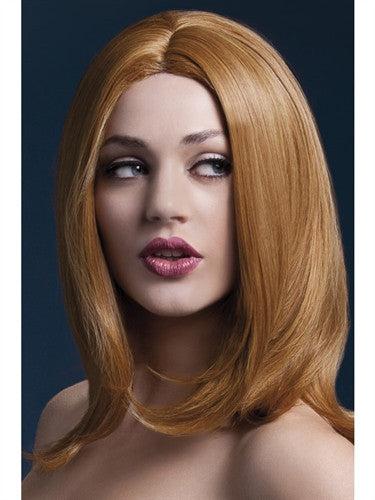 Auburn long layered wig with center parting.