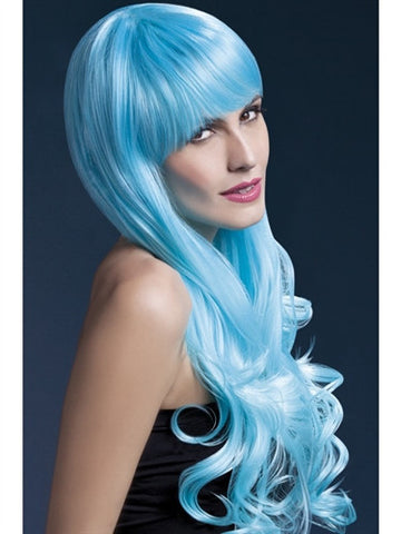 Two-tone blue long soft curl wig with fringe