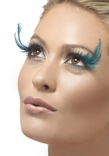 woman wearing stunning teal feather lashes