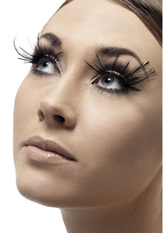 woman wearing Exotic Black Feather Plume Eyelashes