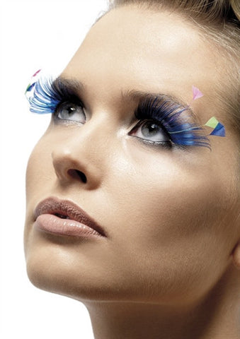 Blue lashes with colorful feather plumes