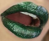 lips with dark green liptick