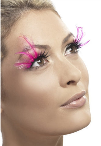 Crossdresser with Black Side Sweep Eyelashes with Pink Feathers