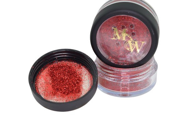 bright red eye glitter